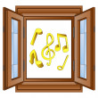 Stock Vector: Music sounds in window wooded frame vector