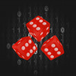 Three gamble dice in binar code background vector — Stok Vektör #29216929