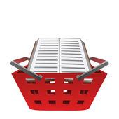 Euducation book in red basket vector — Stock Vector
