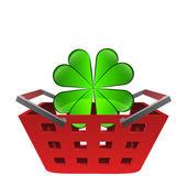 Green happy cloverleaf in red basket vector — Stock Vector