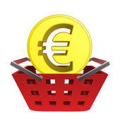Golden european union coin in red basket vector — Stock Vector