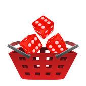 Casino rolling dice in red basket vector — Stock Vector