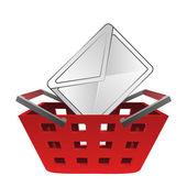 Envolvente caen en vector cesta roja — Vector de stock