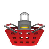 Red basket and closed padlock vector — Stock Vector