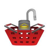 Opened padlock in red basket vector — Stock Vector
