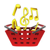 Music sounds in red basket vector — Stock Vector