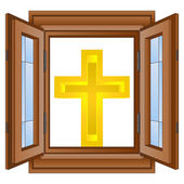 Catholic golden cross in window wooded frame vector — Stock Vector