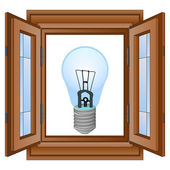 Blue electrical bulb in window wooden frame vector — Stock Vector