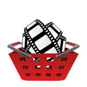Red basket and movie tape vector — Stock Vector