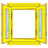 Isolated open golden window frame vector — Stock Vector