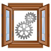 Two steel cogwheel gear in window frame vector — Stock Vector