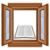 Education book in window wooden frame vector — Stock Vector