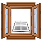 Education book in window wooden frame vector — Stockvektor
