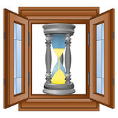 Metal sunglass in window wooded frame vector — Stock Vector