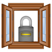Closed padlock in window wooded frame vector — Stock Vector