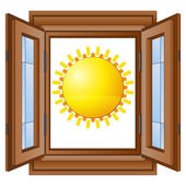 Shiny sun in window wooded frame vector — Stock Vector