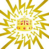 Royal crown in arrow zigzag circle vector — Stock Vector