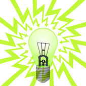 Green electric bulb in arrow zigzag circle vector — Stockvektor