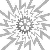 Ocelové hnací kolo šipka klikatá kruh vektoru — Stock vektor