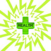 Groen de gezondheid kruis in pijl zigzag cirkel vector — Stockvector