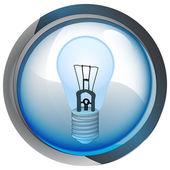 Botón círculo azul aislado con el vector de bulbo — Vector de stock