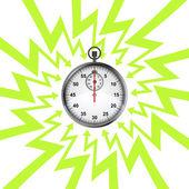 Glossy stopwatch in arrow zigzag circle vector — Stock Vector