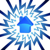 Blå huset ikonen i pilen sicksack cirkel vektor — Stockvektor