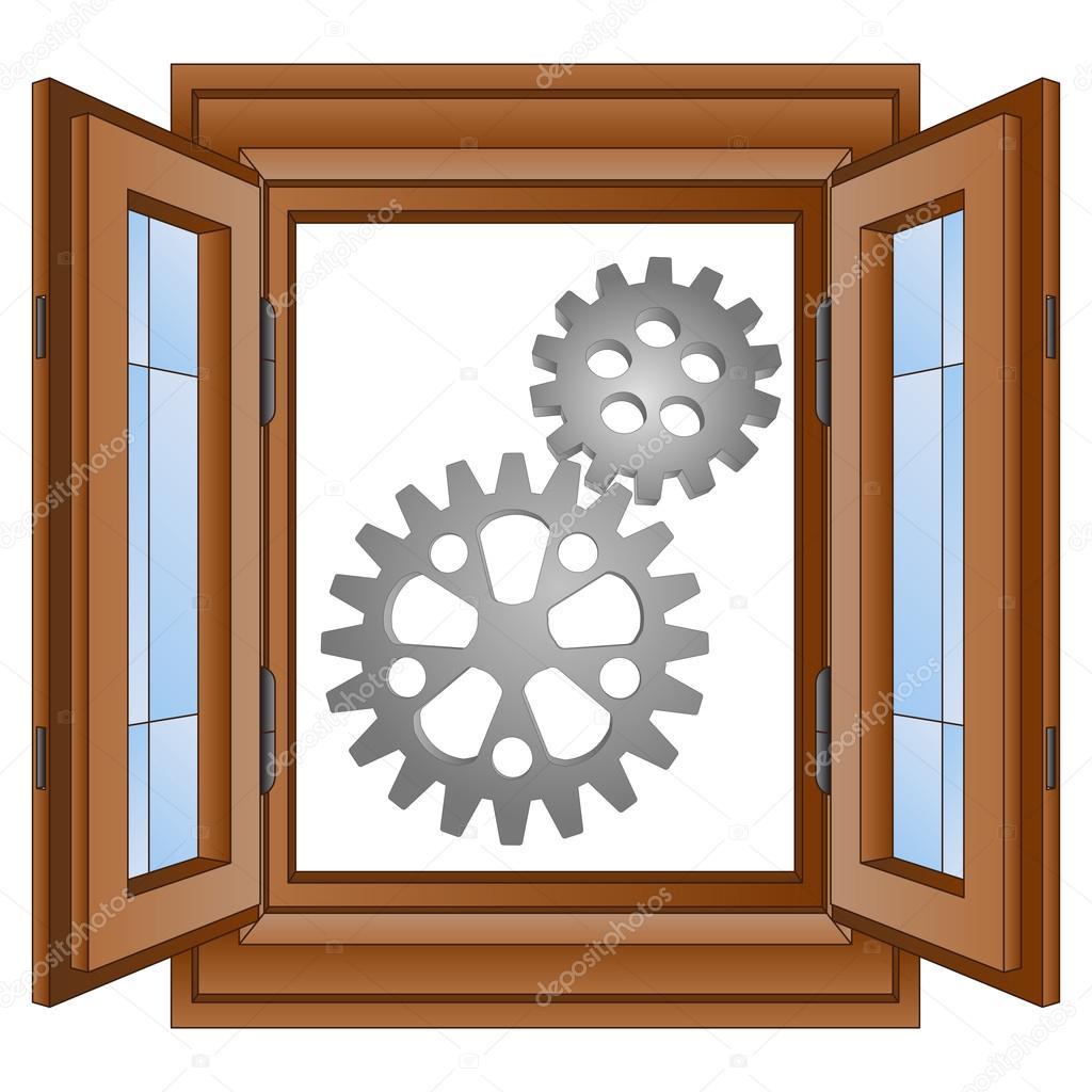#753C14 roda dentada de aço dois em vetor de moldura de janela — Vetor de  878 Moldura Para Janela De Aluminio