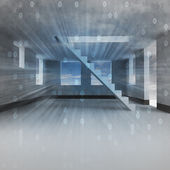 Interior with stairway digital imagination — 图库照片