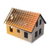 Isolated brick house design schema blend transition — Stock Photo