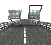 Isolated motorway with two shopping carts — Stock Photo