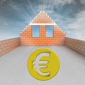 Dachgeschoss haus im bau mit euro-münze — Stockfoto