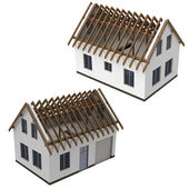 Isolated two roof construction schema views pack — Stock Photo