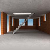Interni casa di mattoni in costruzione e cielo — Foto Stock