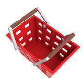 Red shopping basket upper view isolated — Stock Photo