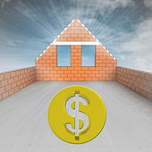 Attic house under construction with dollar coin — Stock Photo