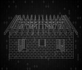 House under construction in binary code background — Stock Photo