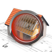 Rentgen glass shows house construction detail — Stock Photo