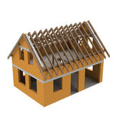 New timbered construction structural house scheme — Stock Photo
