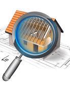 Metallic magnifying glass rentgen house construction detail — Stock Photo
