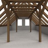 独立的阁楼木建筑角度采选 — 图库照片