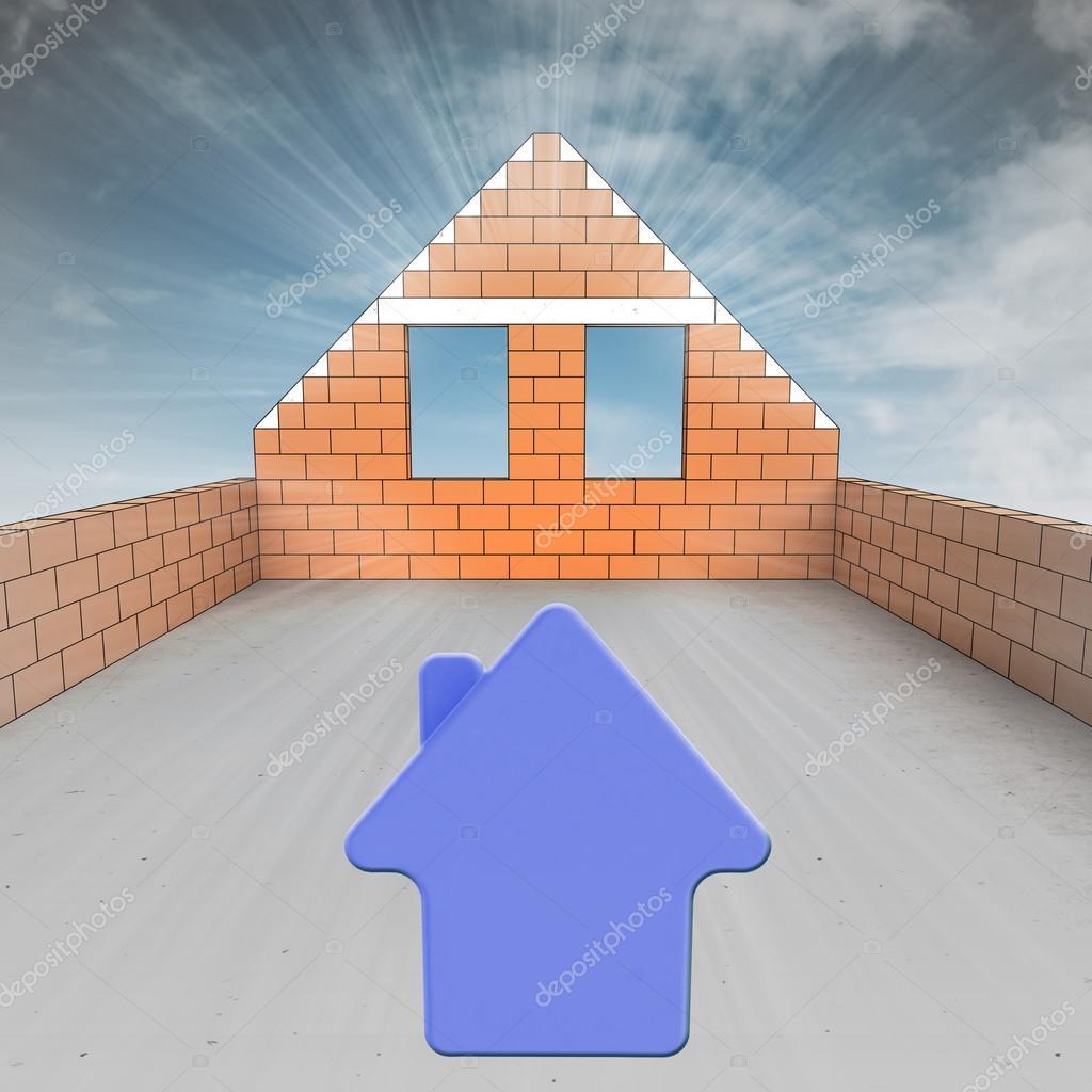 Maison combles en cours de construction avec le symbole de for Assurance maison en cours de construction