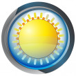 Isolated blue circle button with yellow sun vector — Stock Vector