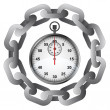 Stopwatch in strong steel circle chain vector — Imagens vectoriais em stock