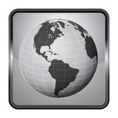 America earth globe silver square button vector — Stock Vector
