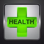 Gezondheid cross zilveren vierkante knop vector — Stockvector