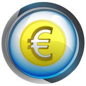 Isolated blue circle button with euro coin vector — Stock Vector