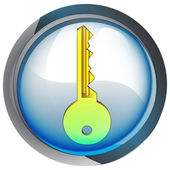 Isolated blue circle button with key vector — Stockvector
