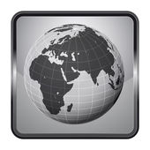 Africa earth globe silver square button vector — Vettoriale Stock