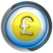 Tlačítko izolované modrý kruh s libra mince vektor — Stock vektor